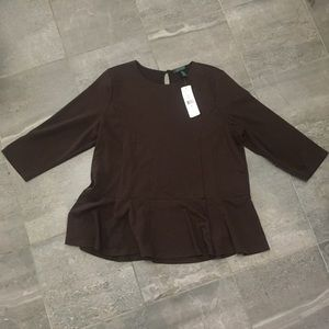 Ralph Lauren brown herringbone top